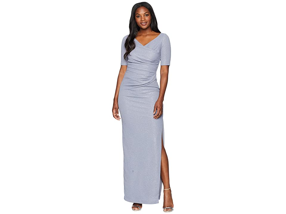 Adrianna Papell Long Draped Metallic Knit Gown (Silver) Women