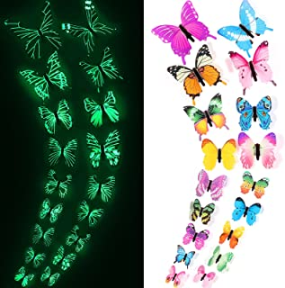 6pcs Luminous 3D Butterfly Wall Stickers Kids Room Decor Glow In The Dark Decal