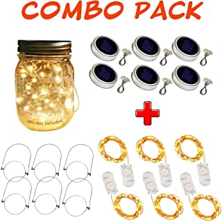 Tam Decors Combo Pack of 6 Solar-Powered Mason Jar Lids with 30-ct LED Lights (Includes Hangers & Batteries, Jars Excluded) + 6 Fairy 20-ct LED String Lights for Patio/Events/Accent Decorations