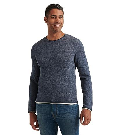 Lucky Brand Linen Blend Welterweight Crew Neck Sweater (Heather Navy) Men