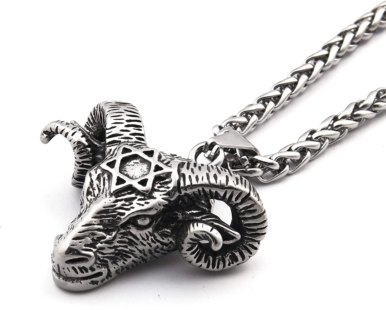 Gungneer Goat Head Baphomet Necklace Pendant Stainless Steel Keel Chain Satanic Biker Jewelry Gift for Men Women