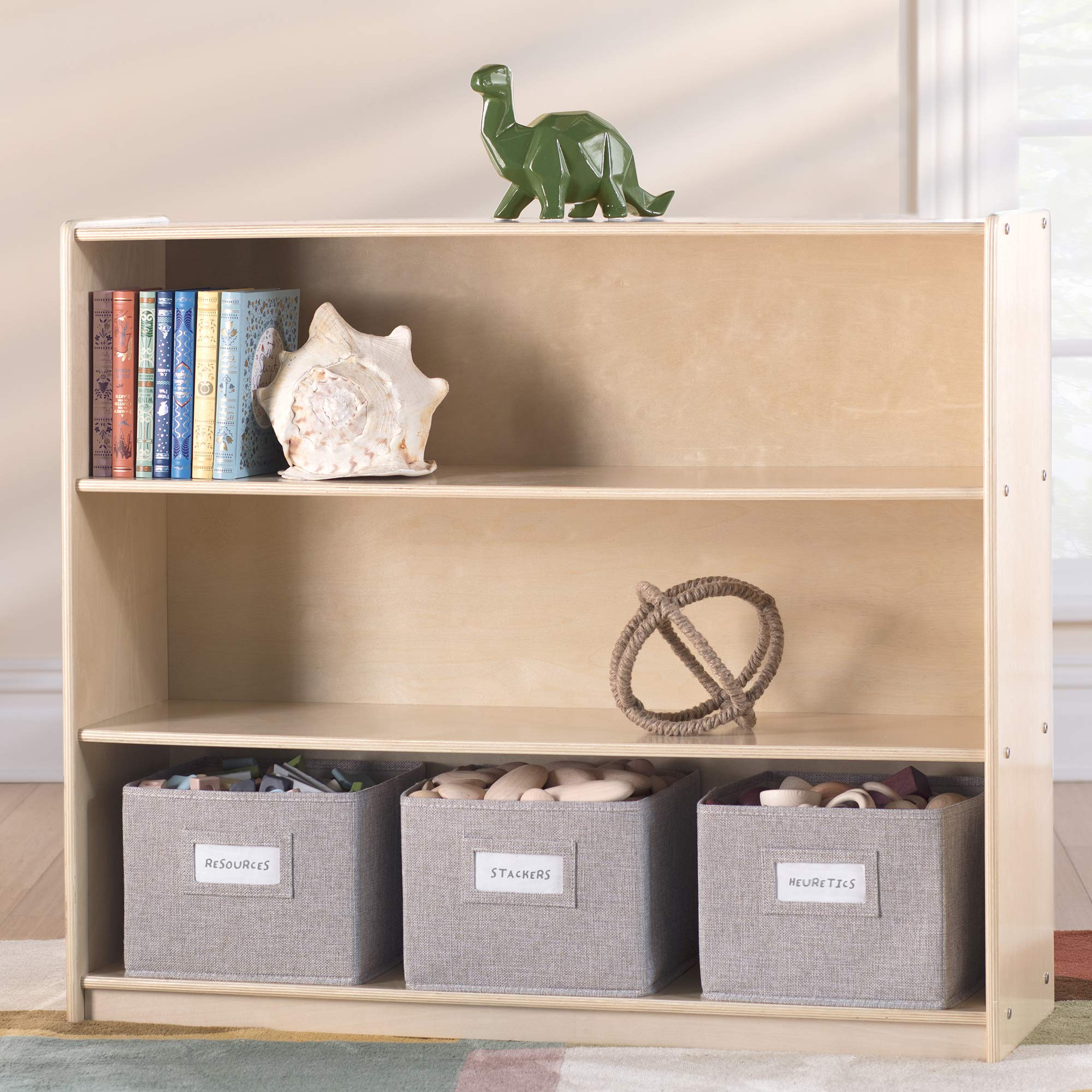 Guidecraft EdQ Essentials Three Shelf Open Storage Natural with 3 Fabric Bins: Wooden Kids Bookcases and Toy Storage Organizer; Homeschool and Classroom Furniture