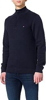 Tommy Hilfiger Men's Fine Zig Zag Structure Zip Mock Sweater