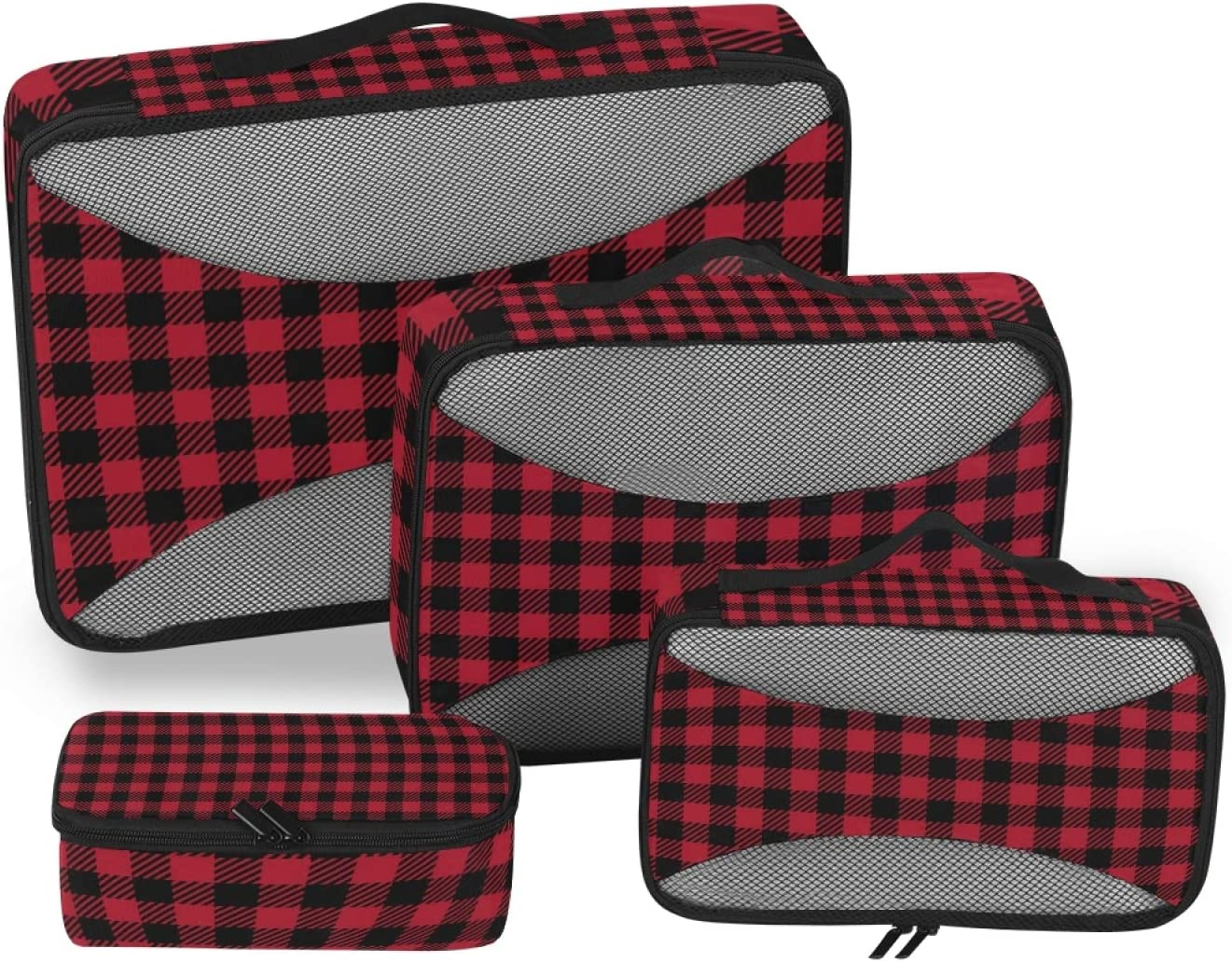 4 Set Packing Cubes with Toiletry Red Plaid - Luggage Bag Travel discount Max 65% OFF