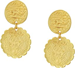 Satin Gold Textured Coin Top Drop Pierced Earrings