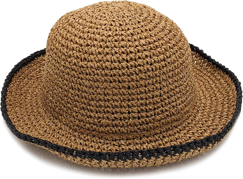 surell Summer Straw Hat with a Black Rim - Hand Woven Beach Sunhat - Perfect Beach Gift