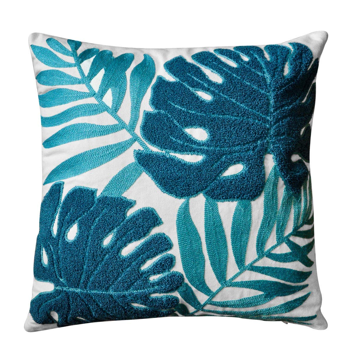 Mulzeart Cotton Embroidery Tropical Leaf Palm Pattern Throw Pillow Covers,  Woven Comfy Decorative Pillows Covers Cushion Case for Couch Sofa Bedroom  ...
