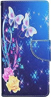 ISAKEN Sony Xperia XA1 Plus Hülle, PU Leder Brieftasche Ledertasche Handyhülle Tasche Case Schutzhülle Hülle Etui mit Standfunktion Karte Halter für Sony Xperia XA1 Plus   Rose Schmetterling