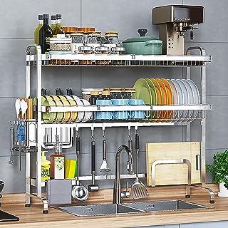 HFTD Égouttoir à Vaisselle Polyvalent au-Dessus de l'évier, Grande étagère égouttoir en Acier Inoxydable 304, Support d'us...