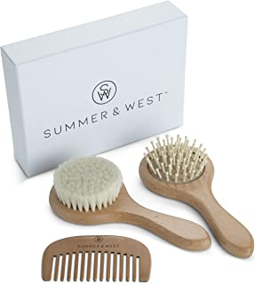 Natural Wooden Baby Brush and Comb Set - Baby Brush Set Newborn and Toddlers