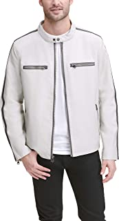 Men's Faux Leather Moto Racer with Contrast Stripes