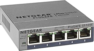 NETGEAR 5-Port Gigabit Ethernet Smart Managed Plus Switch (GS105Ev2) – Desktop, and..
