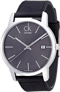 ساعة للرجال من كالفن كلاين بمينا لون اسود وسوار من الجلد - K2G2G1C3