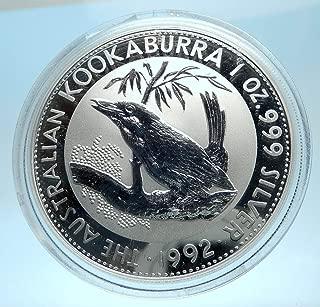 1992 AU 1992 AUSTRALIA Kookaburra Bird Tree 1 oz AR 1 Dol coin Good Uncertified