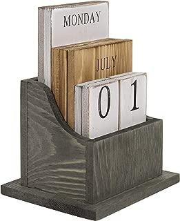 MyGift Vintage Solid Wood Block Desktop Perpetual Calendar