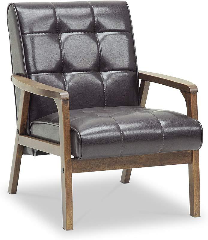 Baxton Studio Mid Century Masterpieces Club Chair Brown