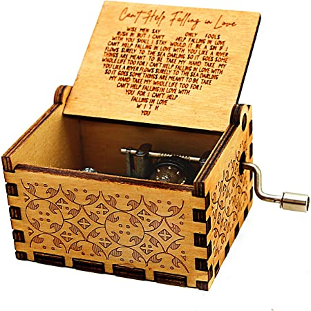 to Boyfriend KWOOD Laser Engraved Wood Musical Box,Music Box with Hand Crank,Mechanism Antique Vintage,Personality Musical Box Gifts for Birthday Christmas