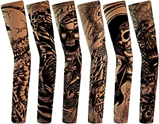 6pcs Temporary Tattoo Sleeves, Hmxpls Body Art Arm Stockings Slip Accessories Fake Temporary Tattoo Sleeves,Skeletons,Skulls Pattern …