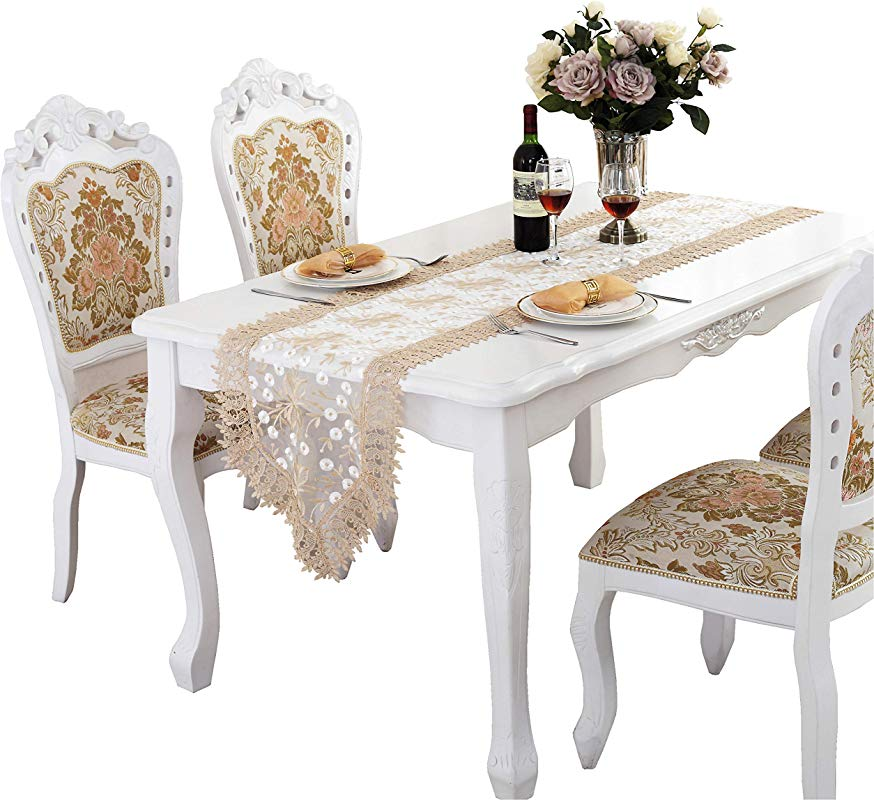 QXFSMILE Embroidered Floral Fabric Lace Table Runner Beige 16 By 48 Inch