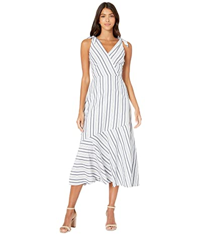 Sam Edelman Stripe Shoulder Tie Maxi Dress (White/Blue) Women