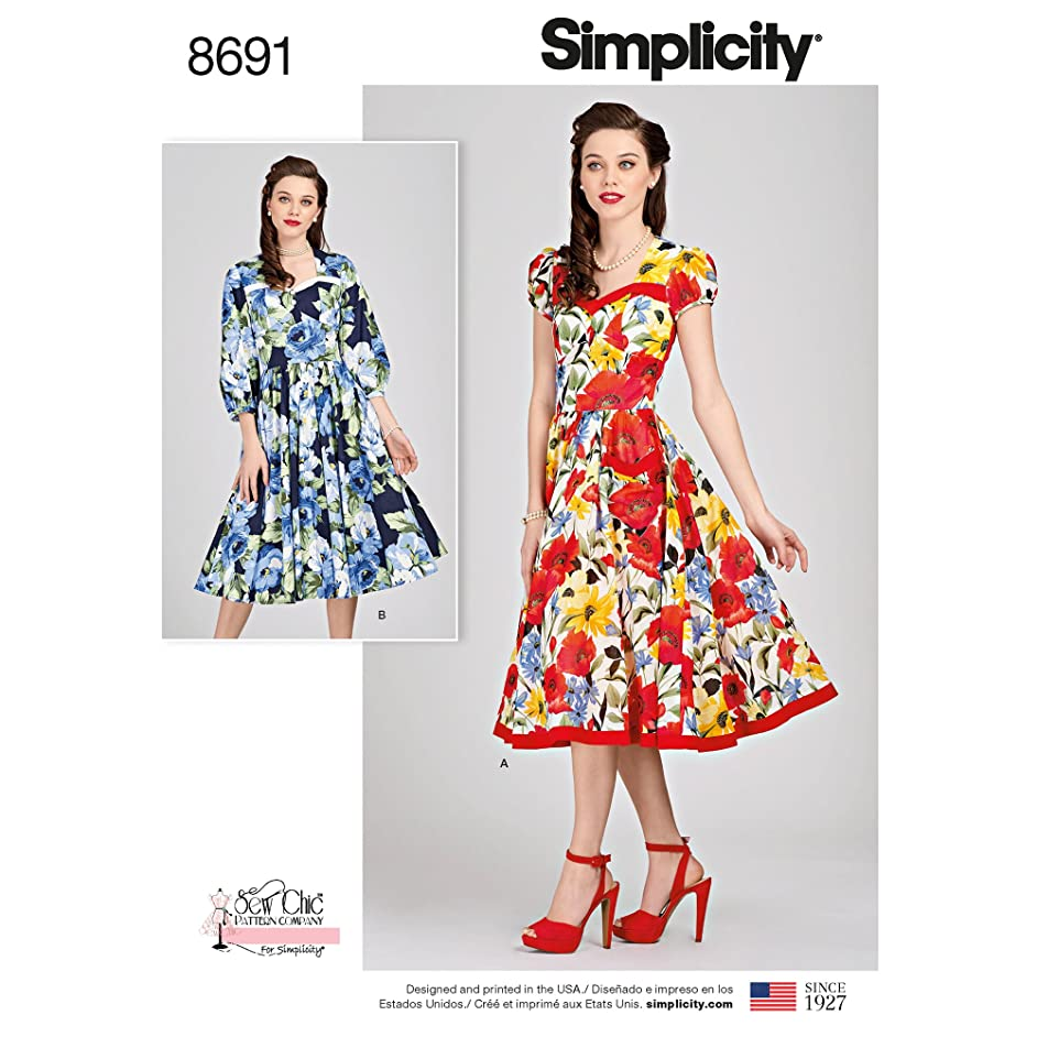 Simplicity Creative Patterns 8691 R5 Sew Chic Misses' Dresses, Size 14-22