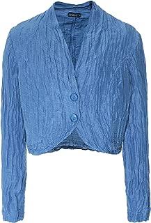 Grizas Women's Linen & Silk Cropped Jacket Blue