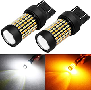 Phinlion Super Bright White Amber Dual Color Switchback 7443 7443na 7444 7444na LED Bulbs with Projector for Car Parking T...