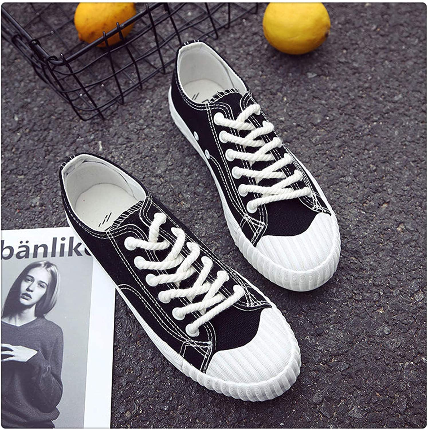 QUGKOP& Candy color Vulcanize Canvas shoes New 2018 Fashion Women Sneakers Casual shoes Breathable Platform Lace Up Trainers Spring Black 8
