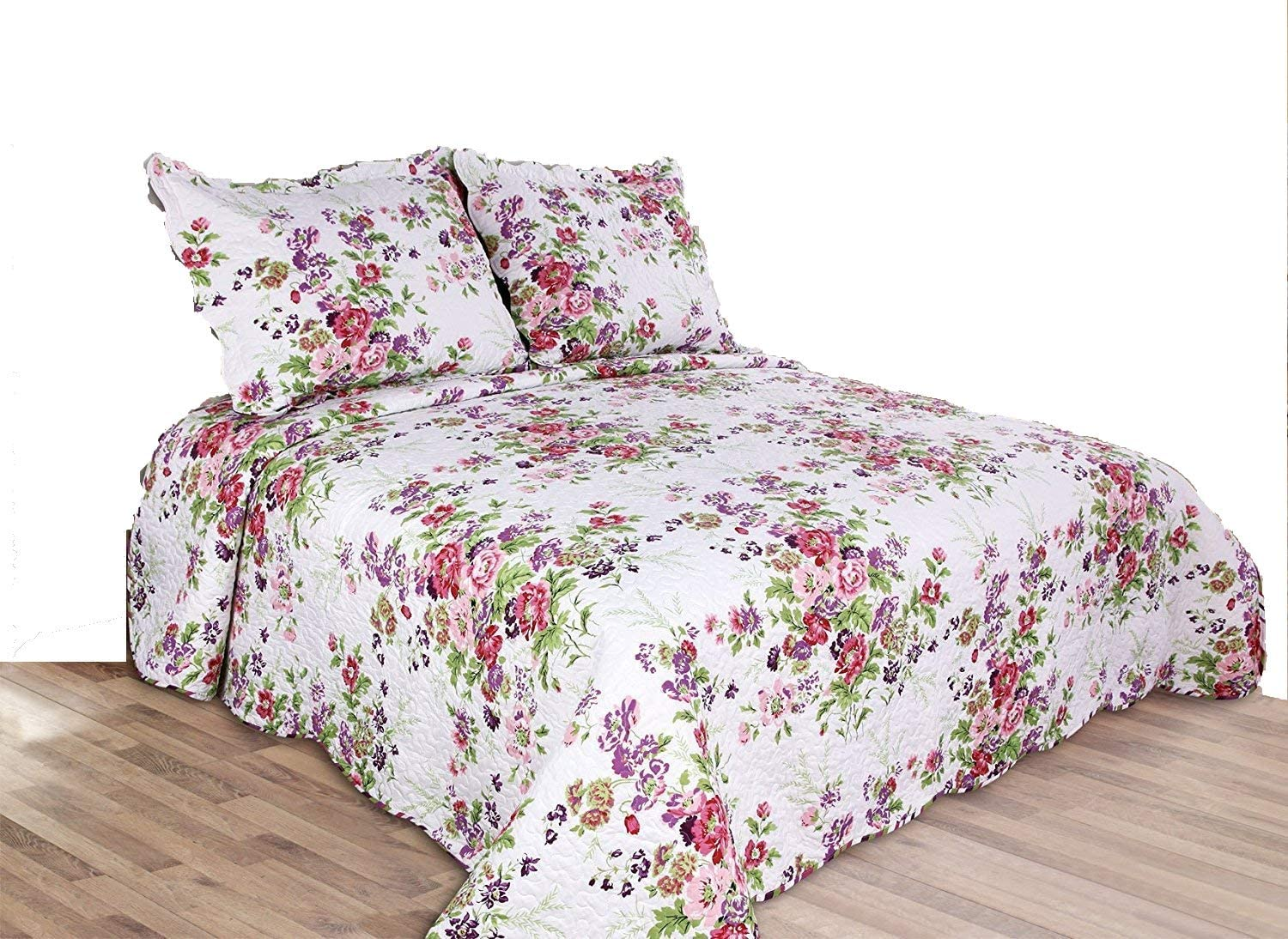 Amazon Com 3 Piece Reversible Coverlet Quilt Set Bedspread King Size 90 X 100 Pink And Purple Flower Kitchen Dining