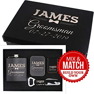 Custom Personalized Groomsmen Gift Box Set for Bachelor and Wedding Party Favor - Engraved Groom, Best Man, Groomsman Boxes - Bow Tie