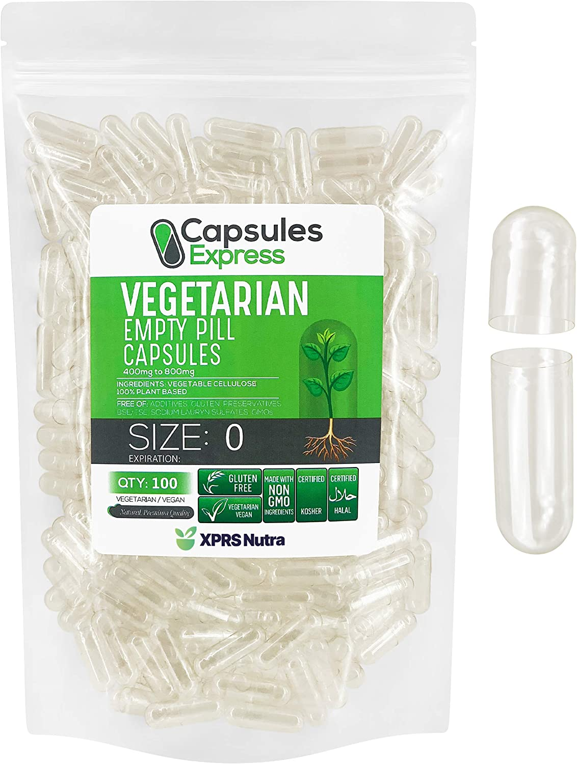 XPRS Nutra Size 0 Empty Capsules Clear Vegan C Popular popular Count High order 100 -