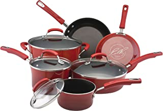 Rachael Ray 11535 Brights Nonstick Cookware Pots and Pans Set, 10 Piece, Red Gradient