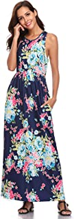 Lucky Star Women's Long Sleeves Floral Print Round Neck Casual Loose Long Maxi Dress with Pockets
