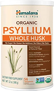 Himalaya Organic Psyllium Husk for Daily Fiber, Weight Management, Cholesterol and Blood Sugar Support, 12 oz, 56 Tablespo...
