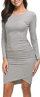Women's Casual Long Sleeve Ruched Bodycon Sundress Irregular Sheath T Shirt Dress
