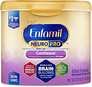 Enfamil NeuroPro Gentlease Baby Formula Gentle Milk Powder, 20 Ounce (Pack of 1) - MFGM, Omega 3 DHA, Probiotics, Iron & Immune Support