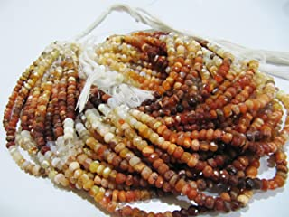 AAA Quality Natural Mexican Fire Opal Rondelle Shape Beads Faceted Cut Opal Beads, Stone Size Approx 4-5mm, Strand Length 13
