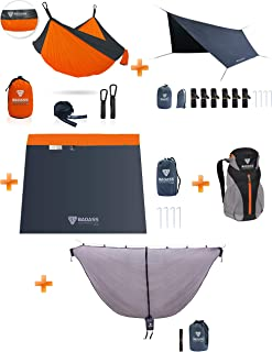 Badass Hammocks Hammock Camping System Save Your Money and Buy it in a Bundle - Hammock, Carabiners, Tree Straps, Mosquito Net, Rainfly, Footprint, Packaged in a Badass Backpack - Yes Please