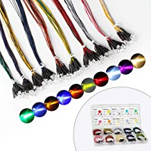 DiCUNO 100Pcs (10 Colors × 10Pcs) 12V Pre Wired 5MM LED Diodes, 24CM/9.4 Inch Ultra Bright Light Emitting Diodes Assorted Color Kit Box for Circuit Science Experiment, DIY Lighting Projects