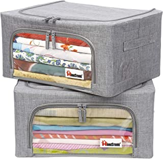 HomeStorie® Living Box - Foldable Storage Boxes for Clothes, Saree Cover with Steel Frame Structure- 24 Litre, Pack of 2, ...