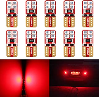 Phinlion Super Bright 2835 SMD LED Bulbs for Car Interior Dome Map Door Courtesy License Plate Lights Wedge T10 168 194 2825 Red (10 Pack)