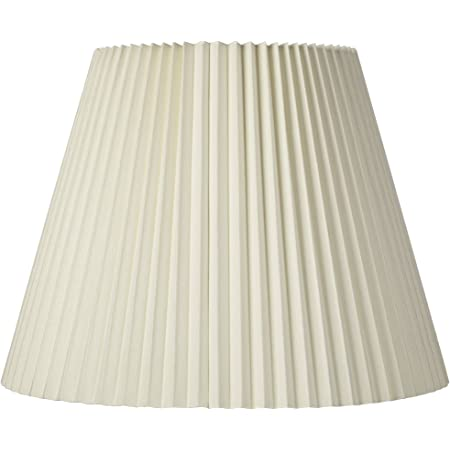 """Ivory Pleated Large Lamp Shade 11"""" Top x 19"""" Bottom x 14.25"""" High x 14.5"""" Slant (Spider) Replacement with Harp and Finial - Brentwood"""
