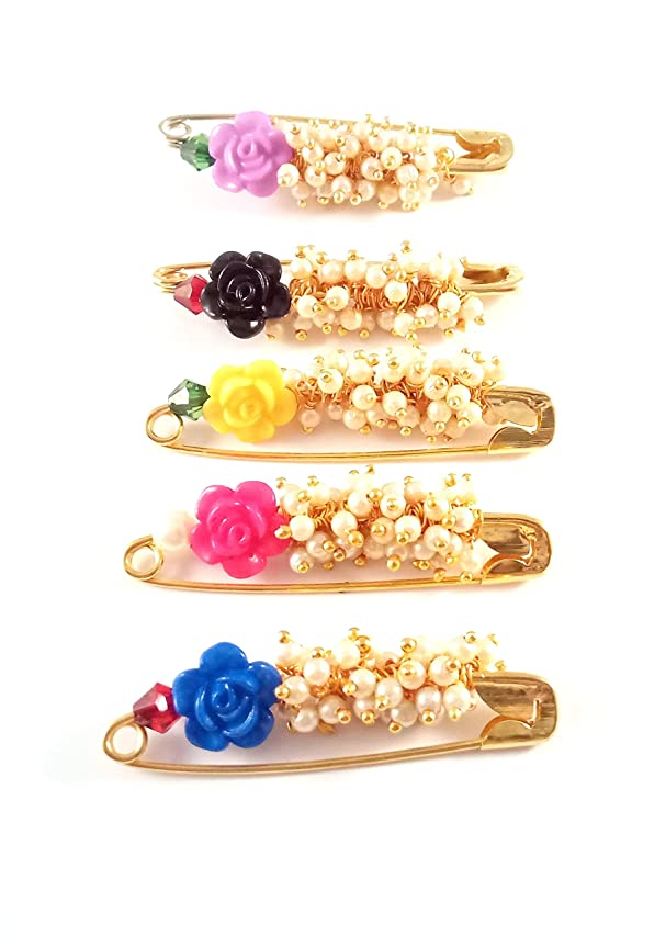 Sarvam Decorative Safety Pins Saree Pin Brooch One Side of Pin Decorated with Multicolored Flowers and Faux Pearls Set of 5