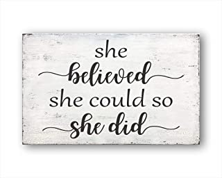 She Believed She Could So She Did, Vintage Wood Sign Rustic Wooden Signs Wood Block Plaque Wall Decor Art Farmhouse Home D...