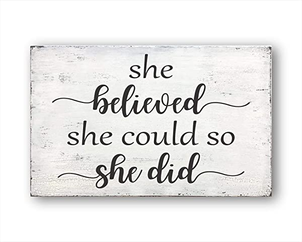 She Believed She Could So She Did Vintage Wood Sign Rustic Wooden Signs Wood Block Plaque Wall Decor Art Farmhouse Home Decoration Gift 7x12 Inch