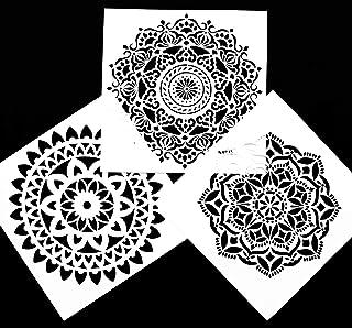 Asian Hobby Crafts Mandala Stencil : Pack of 3pcs : Size - 18 x 18cm
