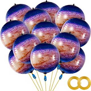 Liliful 12 Pieces 22 Inch Galaxy Print Foil Balloons Galaxy 4D Globe Foil Balloon Globe Mylar Sphere Metallic Jumbo Balloo...