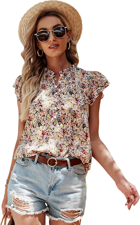 Milumia Women's Floral Print Button Front Blouse Ruffle Cap Sleeve Boho Top Shirt