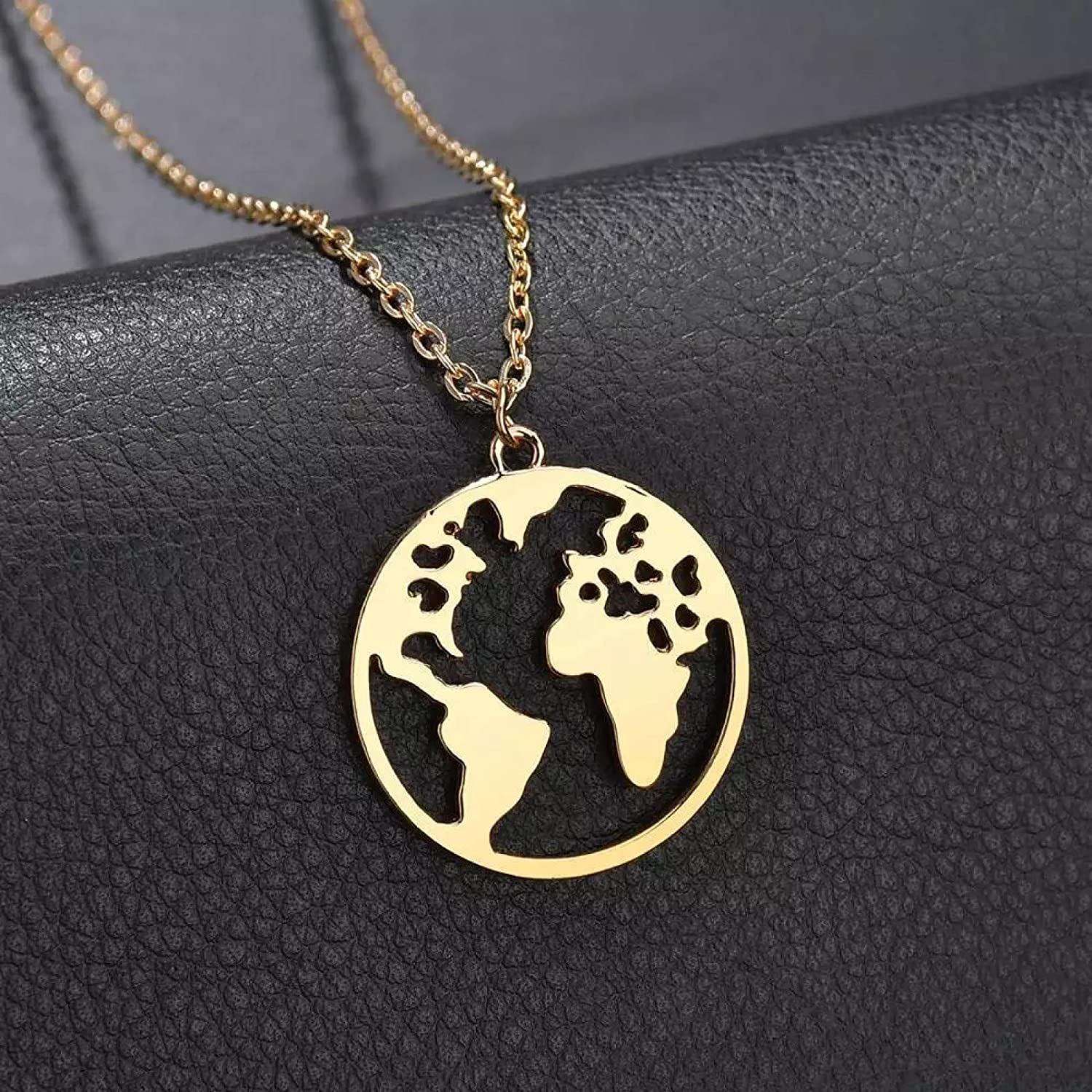 N/A Necklace Pendant Fashion Vintage Gold Color World Map Pendant Necklace for Women Round Chain Charm Choker Collares Necklace Jewelry Halloween Christmas Birthday Party Gift