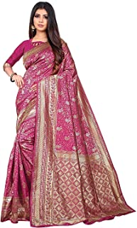 BHARVITA Women's Banarasi Silk Patola Style Saree with Blouse Piece Pink